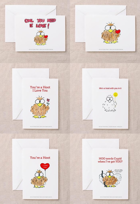niki owl love cards